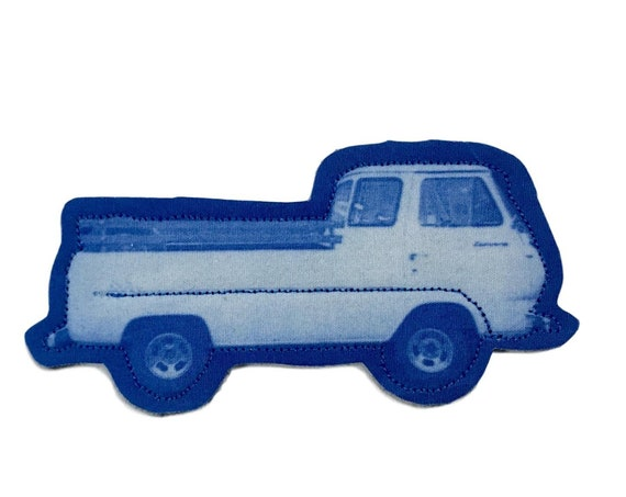 Little Truck, iron on patch, blue, boho, patch for jeans, cool patches, gift, art print, solarfast, birthday, sew on, patch for jacket, love