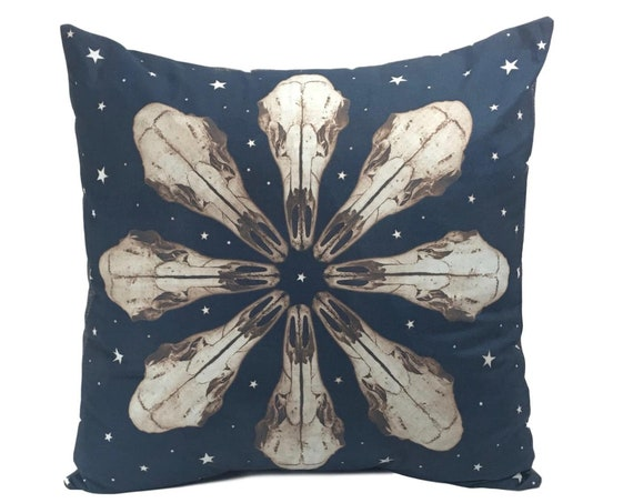 Boho throw pillow. Deer Skull with stars. 20x20.