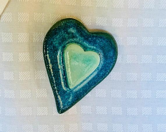 Heart-Shaped Ceramic Lapel Pin