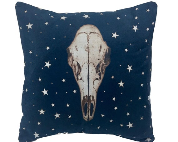 Deer Skull, pillow cover, solarfast,  steampunk, boho, rustic home decor, farmhouse, country, western, housewarming, Pacific Northwest