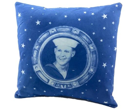 Nautical throw pillow. Handsome Sailor. 14x14
