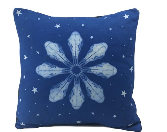 Deer Skull Pillow, Cover, 14x14, animal skull,  mandala, Pacific Northwest, housewarming gift, boho, rustic home decor, western, snowflake,