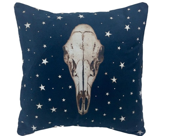 Boho Throw Pillow. Deer Skull Pillow with Stars. 14x14.