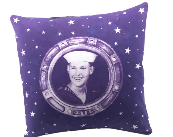 Handsome Sailor, pillow cover, nautical home decor, beach house, retro style, rustic home decor, old photograph, United States Navy, purple