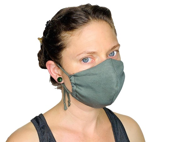 Jersey face mask with filter pocket, removable nose wire, and adjustable ear straps