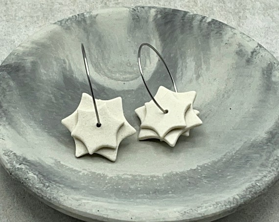 Ceramic Dangle Earrings. White Star