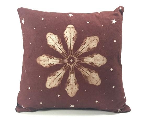 Throw pillow, 14x14, deer skull, animal, pacific northwest, mandala, snowflake, western, boho, rustic, handmade, hand dyed, housewarming