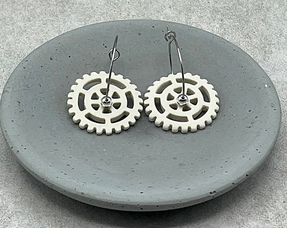 Gear Earring. Ceramic.