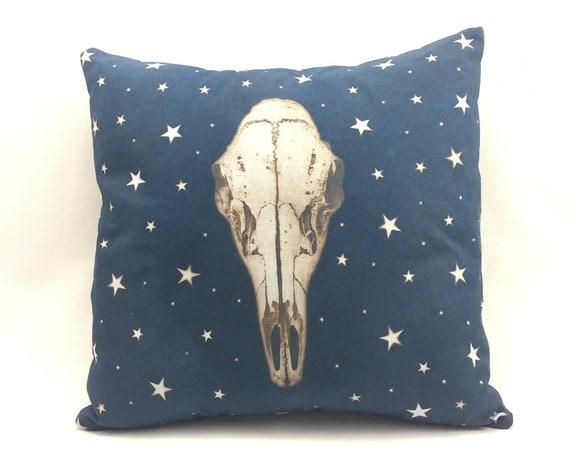 Animal skull, Deer skull pillow, pillow cover, rustic home decor, steam punk, boho, PNW, housewarming gift, off beat, wacky, fun, bedroom