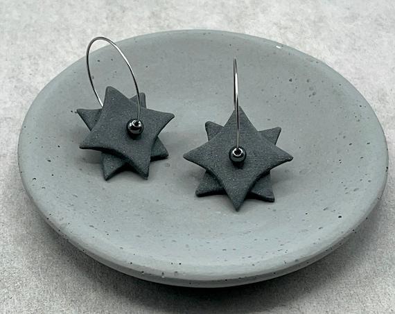 Black Geometric Earrings. Ceramic.