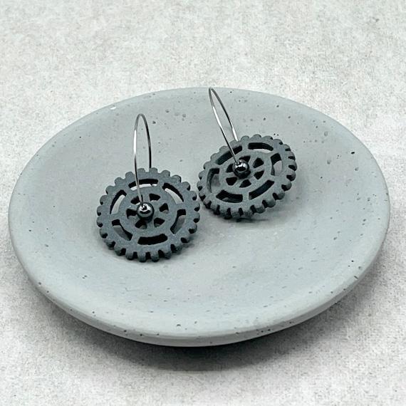 Black Gear Ceramic Earring