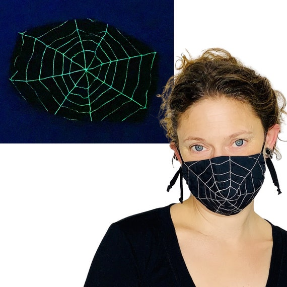 Glow in the dark Spider Web Face Mask