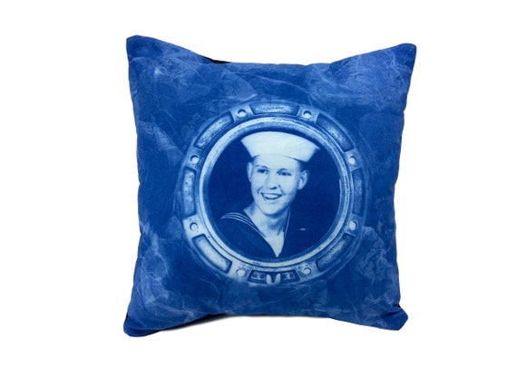 Boho throw pillow. Retro Handsome Sailor. 14x14