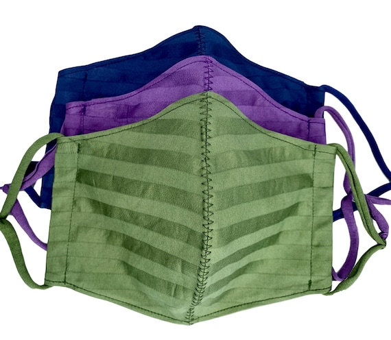 Adult Cotton Face Mask with Filter Pocket, Nose Wire, and Adjustable Ear Loops. Ready to ship.