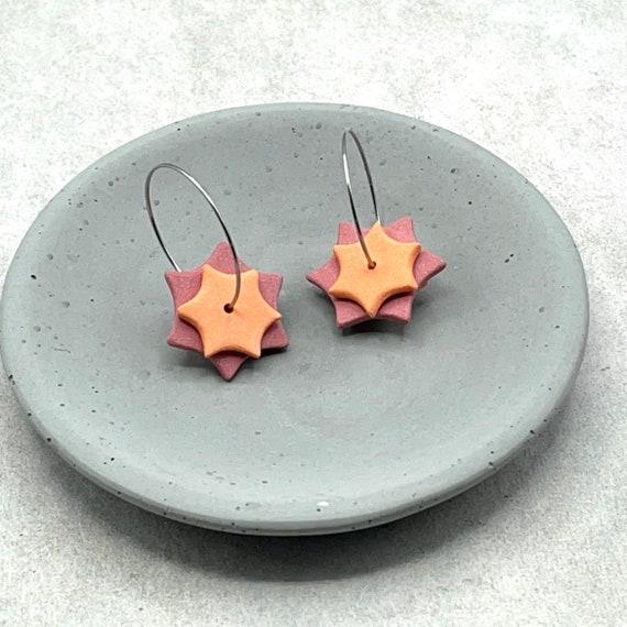 Ceramic Dangle Earrings. Red and Orange Star.