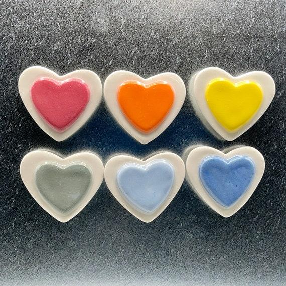 Rainbow Heart Magnet Set. Ceramic