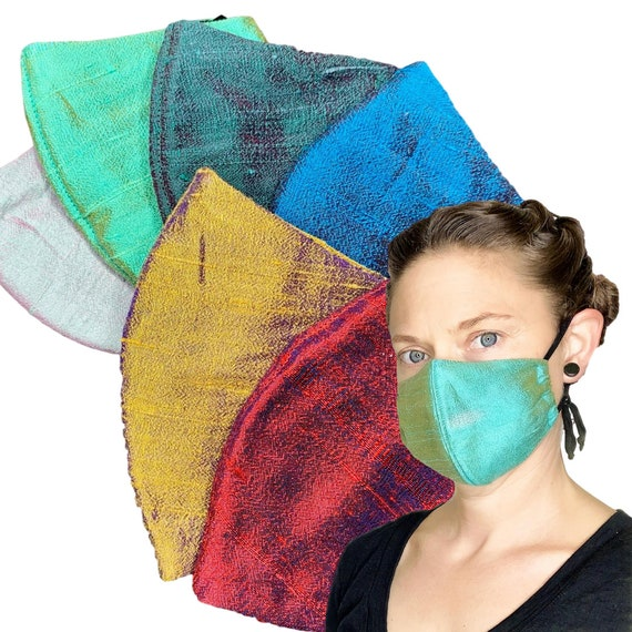 Fancy Silk Face Mask With Filter Pocket, Removable Nose Wire, and Adjustable Ear Loop
