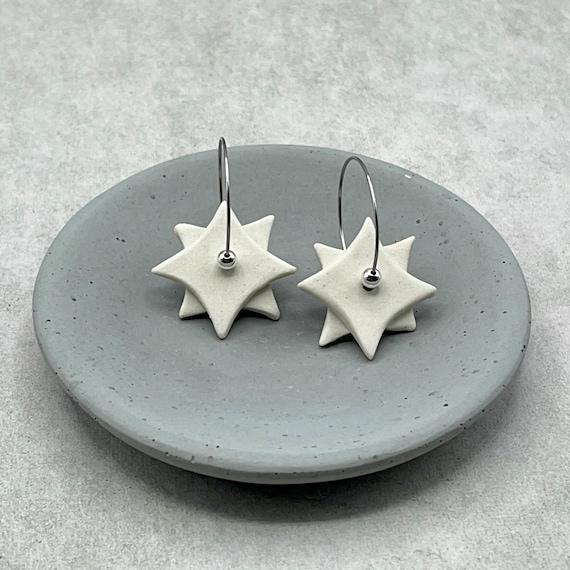 White Geometric Drop Earrings. Ceramic.