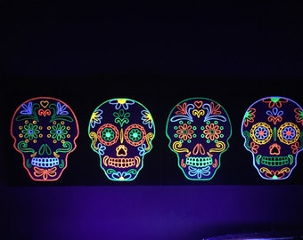 Set of black light skull on canvas