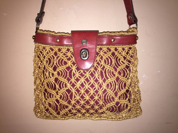 ccbfafa014 ETIENNE AIGNER VINTAGE Handmade Oxblood Leather  Macrame Straw
