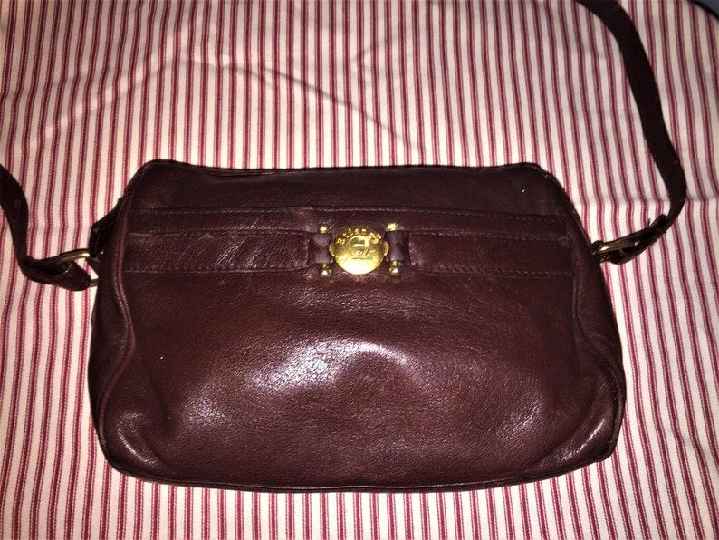 2631151ca1 ETIENNE AIGNER VINTAGE Oxblood Leather Shoulder Bag 10 x 7.5 x
