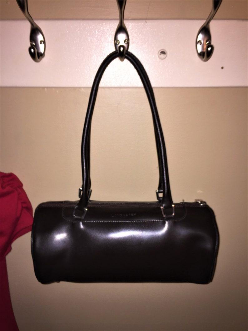 32d2530355 LANCASTER VINTAGE Brown Leather Barrel Bag Paris FRANCE 12 X 5