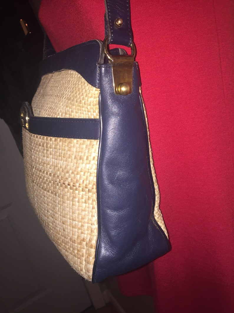 00b0596d06 ETIENNE AIGNER VINTAGE Large Navy Blue Leather Straw 13.5 x