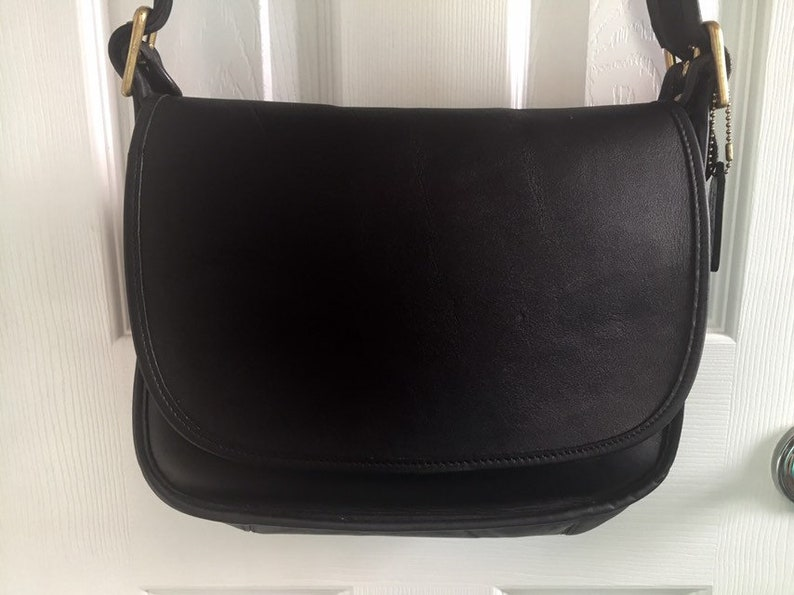 fa75499863c9 COACH VINTAGE Black Leather Patricia s Legacy Bag USA 9951