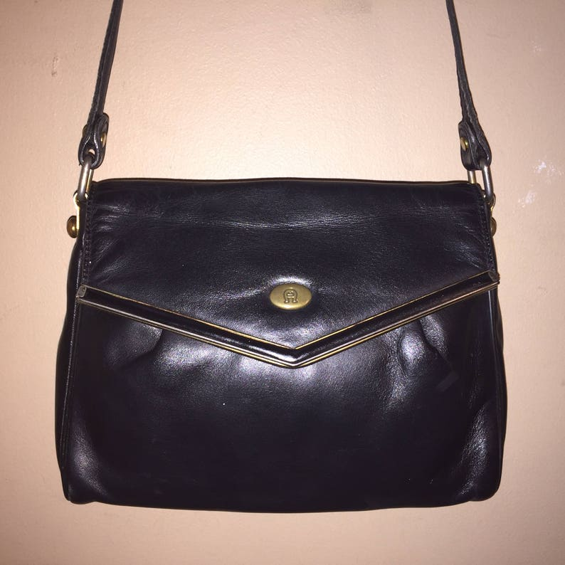 646cbdff9 ETIENNE AIGNER VINTAGE 9 X 6 X 2.5 Black Leather Shoulder Bag | Etsy