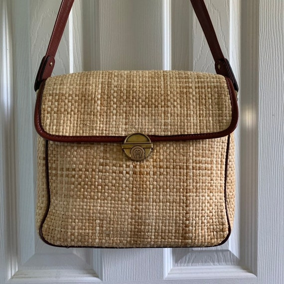 ETIENNE AIGNER Vintage Handmade Leather and Straw