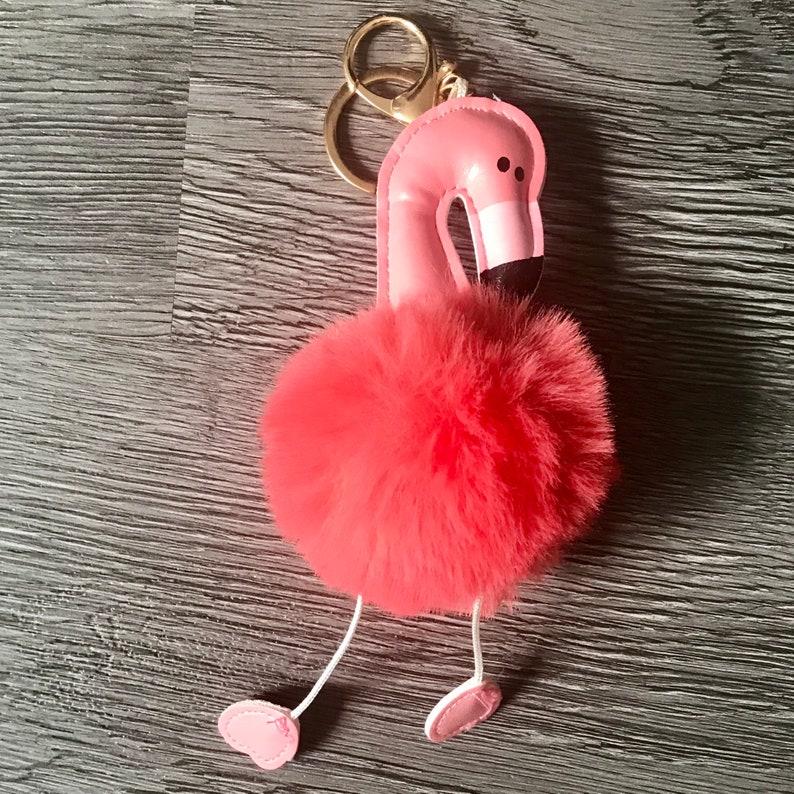 cute orange pink Flamingo Keychain Key ring bird summer Birthday Christmas Anniversary Gift Accessories Accessorise Accessory