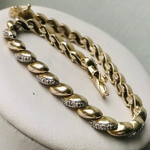 Vintage Sterling Silver 925 14k Gold Filled Green and Clear Quartz Bead link chain boho bracelet 7 inch