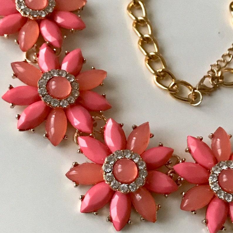 Statement boho drop Bib Fashion Modern Orange flower floral necklace Beads Crystal birthday wedding summer holiday party gift bride