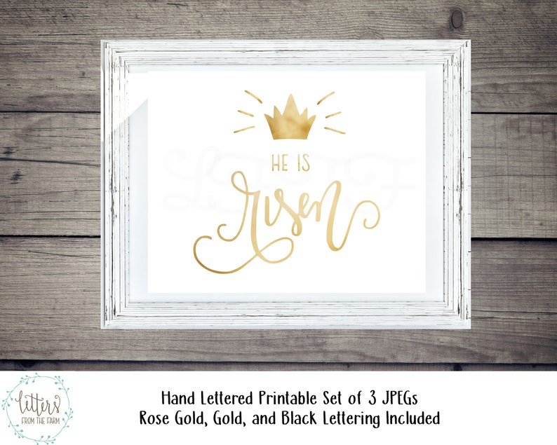 photo about He is Risen Printable called He Is Risen Printable, He is Risen, Hand Lettered, JPG, Easter Printable, Easter Decor, Christian Easter Decor