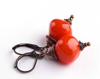Little Orange Earrings, Lampwork Earrings, Handmade Glass Earrings, Beadwork Earrings, Boho jewelry Boho chick, Murano glass, Autumn Colors