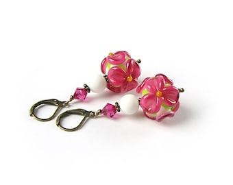 Ruby Flower Lampwork Earrings, Handmade Glass Earrings, Pink Flower Dangle Earrings, Boho jewelry, Floral Jewelry, Summer, Spring, Wedding