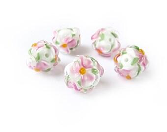 5pcs 17 mm White Pink Lampwork Flower Beads, Glass Bead Set, Handmade Glass Beads, Murano Glass, Floral Beads, Wedding Jewelry Supplies