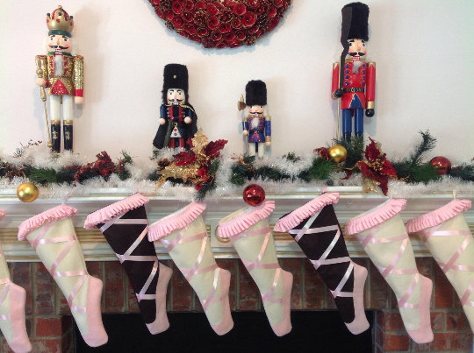 christmas stocking, ballet christmas stockings, dance, ballet pointe shoes, pink or blue, personalized christmas stockings