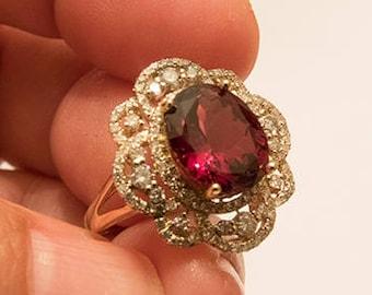 Absolute Premium Top Grade 14K Rhodolite Garnet and Diamond Ring-Sz 6.5