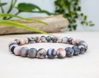 Pink Zebra Jasper Bracelet Sterling Silver /& Gemstone Bracelet for Women Positivity and Balance Womens Labradorite Bracelet