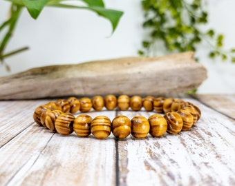 Striped Round Wooden Bead Bracelets