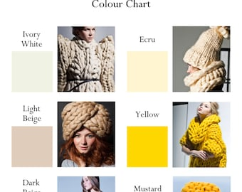 Colour Chart MOROSHKA by VINGIL chunky knit coats, sweaters, accessories and bulky yarn blankets. No need to purchase this listing!