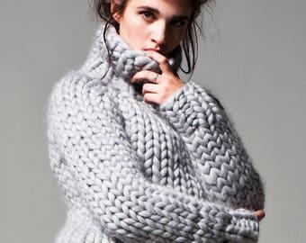 Chunky knit. Big knitted turtleneck sweater. Chunky sweater. Knit sweater. Her Giant knitting, thick wool oversized sweater. Bulky yarn knit