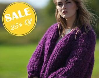 Secial SALE 25% off. Chunky knit cardigan. Giant knit jacket. Bulky yarn bomber. Super chunky knit. Woolen knit jacket.