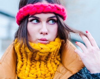 Chunky Knit Headband, Bulky wool Headwrap, Cable Knitting Turban, Big Knit Headband, Chunky Hat, Woolen Ear Warmers, Braided Crown for her.
