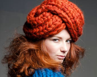 Oversized hat. Chunky knit hat. Giant knits - big turban (small). Her - chunky beanie. Trendy turban. Fashion knit accessory - Slouchy hat
