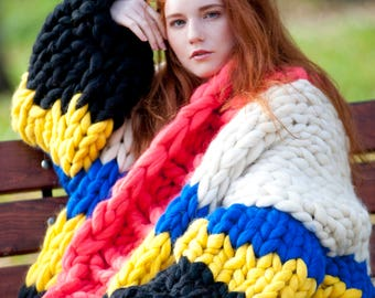 c688cbe2d62d6 Chunky knit - oversized cardigan. Super chunky knit sweater. Extreme  knitting cardigan. Big yarn multicolor sweater. Bulky wool knitwear.