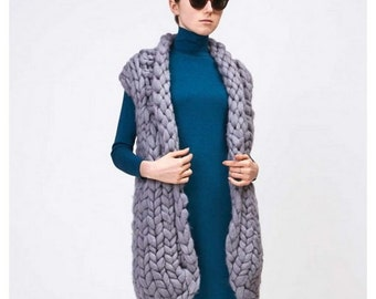Chunky knit sweater - vest. sweater. Woolen sleeveless cardigan. Unisex knit vest. Warm trendy waiscoat. Oversized sweater. Chunky cardigan