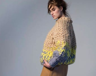 Chunky knit sweater - short. Multicolor jumper. Extreme knitting bomber. Bulky wool knitwear. Oversized sweater. Chunky knitted turtleneck.