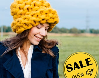Special Sale - 25% Off! The only ONE Big Papakha - Chunky hat. Chunky knit ( Orange XS). Oversized slouchy beanie. Unisex winter accessory